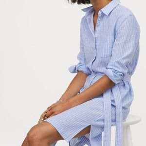 cotton striped shirt dress